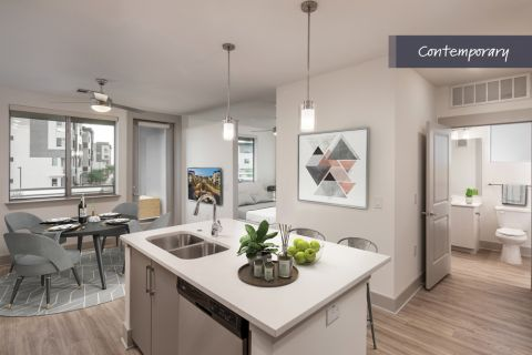 Contemporary Studio Kitchen at Camden North End Apartments in Phoenix, AZ