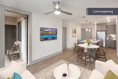 Contemporary Living and Dining Room at Camden North End Apartments in Phoenix, AZ