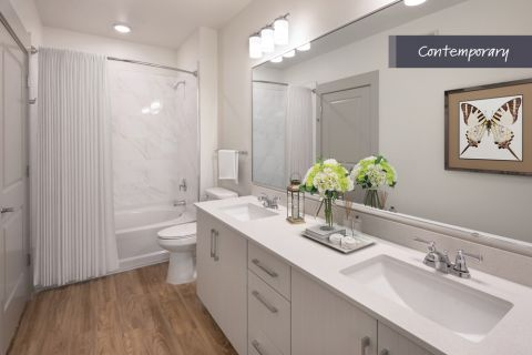 Contemporary Double Vanity Bathroom at Camden North End Apartments in Phoenix, AZ