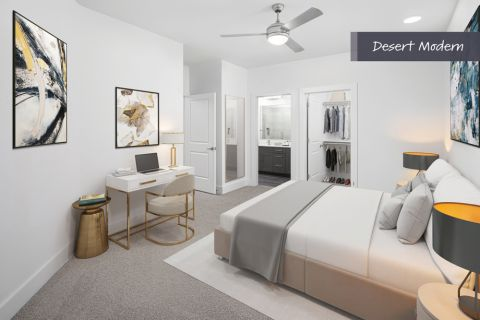 Desert Modern Bedroom with Home Office Space at Camden North End Apartments in Phoenix, AZ