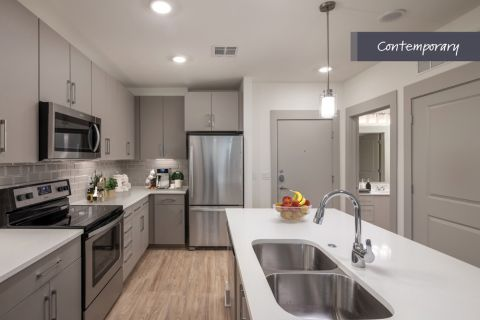 Contemporary Kitchen with stainless steel appliances at Camden North End Apartments in Phoenix, AZ