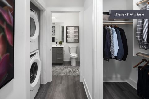 Desert Modern Closet and Laundry at Camden North End Apartments in Phoenix, AZ