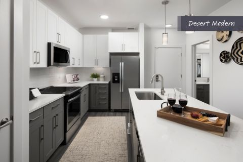 Desert Modern Kitchen with Stainless Steel Appliances at Camden North End Apartments in Phoenix, AZ