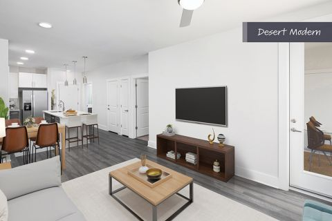 Desert Modern Open-Concept Living Room at Camden North End Apartments in Phoenix, AZ