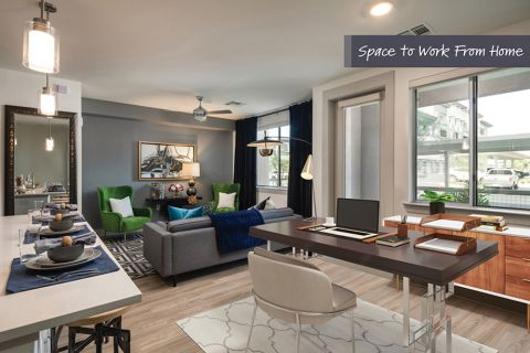 One Bedroom Floor Plan Living with Room for an Office Space at Camden North End Apartments in Phoenix, AZ