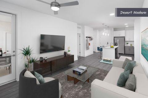Desert Modern Open Concept Living Room with Patio at Camden North End Apartments in Phoenix, AZ