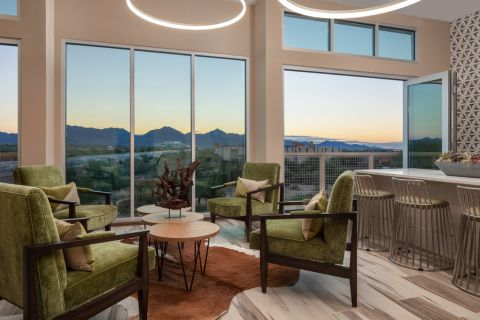 Sky Lounge at Sunset with Mountain Views at Camden North End Apartments in Phoenix, AZ