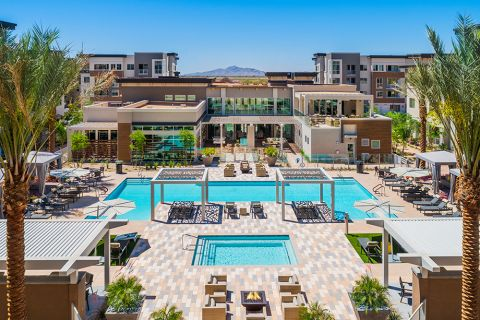Pool and Spa with Expansive Sun Deck and Cabanas at Camden North End Apartments in Phoenix, AZ