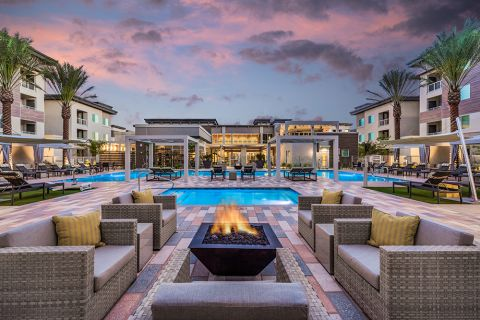 Pool with Lounge Seating and Fire Pit at Camden North End Apartments in Phoenix, AZ