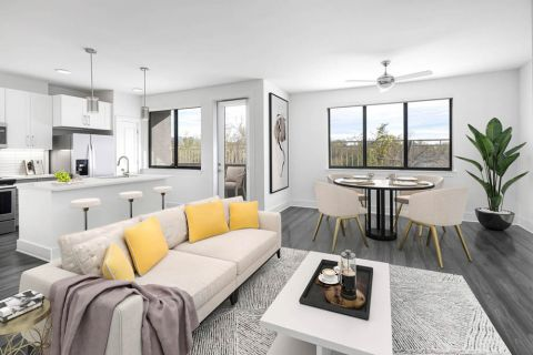 Desert Modern Townhome Living Room and Kitchen at Camden North End Apartments in Phoenix, AZ