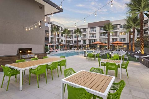 Patio seating at Camden North End Apartments in Phoenix, AZ