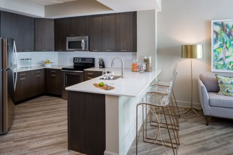 Kitchen with Quartz Countertops and Kitchen Island with extra seating at Camden North Quarter Apartments in Orlando, Florida