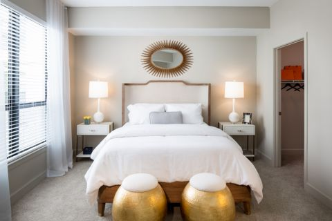Spacious Bedroom with Large Windows at Camden North Quarter Apartments in Orlando, Florida