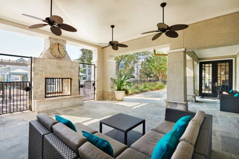 Outdoor Fireside Lounge at Camden Northpointe Apartments in Tomball, Texas