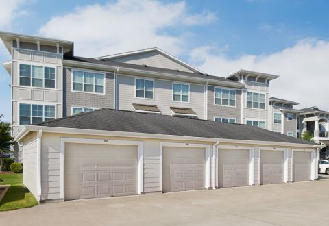 Private, rentable garages at Camden Northpointe Apartments in Tomball, Texas