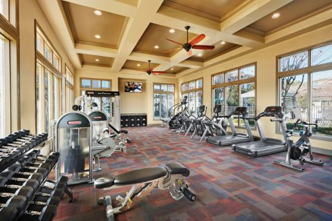 Fitness Center with free weights at Camden Northpointe Apartments in Tomball, TX
