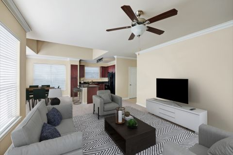 Living Room at Camden Northpointe Apartments in Tomball, TX