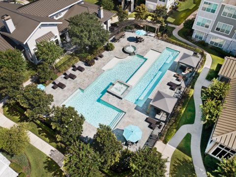 Bird's Eye View of the Swimming Pool at Camden Northpointe Apartments in Tomball, Texas