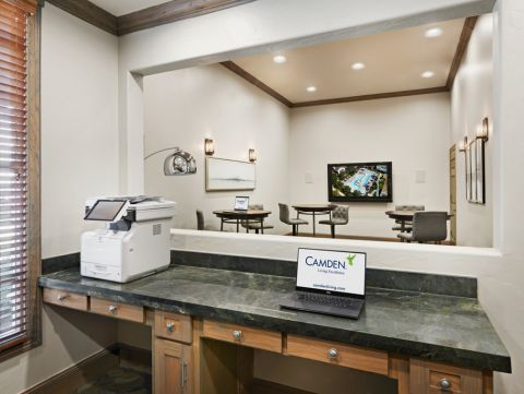 Community Workspace at Camden Northpointe Apartments in Tomball, Texas