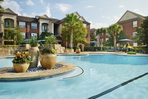 Beach Front Entry Pool at Camden Oak Crest Apartments in Houston, TX