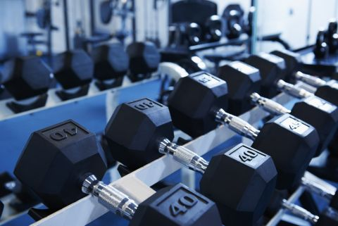 24 Hour Fitness Center with Cardio and Free Weights at Camden Oak Crest Apartments in Houston, TX
