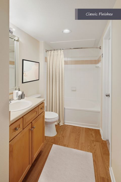 Bathroom with classic finishes at Camden Oak Crest Apartments in Houston, TX