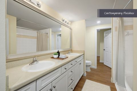 Bathroom with contemporary finishes at Camden Oak Crest Apartments in Houston, TX