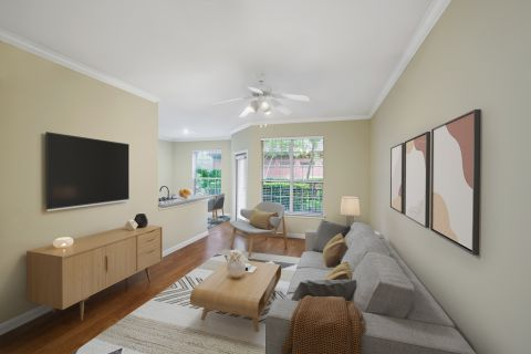 Living room at Camden Oak Crest Apartments in Houston, TX