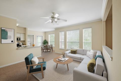 Spacious living room at Camden Oak Crest Apartments in Houston, TX