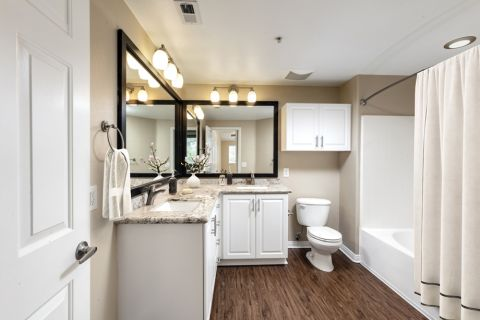 Double Vanity Bathroom at Camden Old Creek Apartments in San Marcos, CA