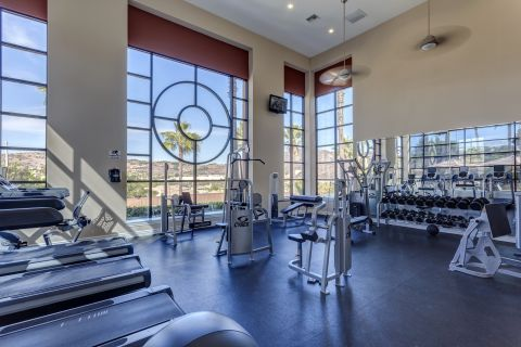Fitness Center with Free Weights at Camden Old Creek Apartments in San Marcos, CA