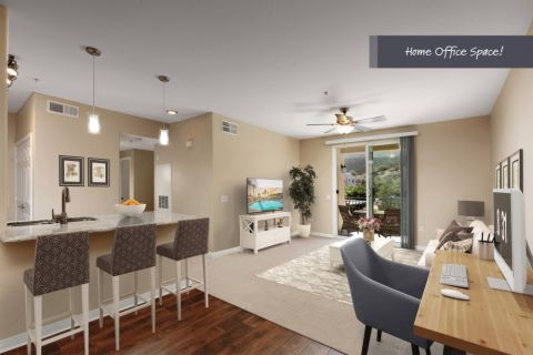 Living Room with Space to Work from Home at Camden Old Creek Apartments in San Marcos, CA