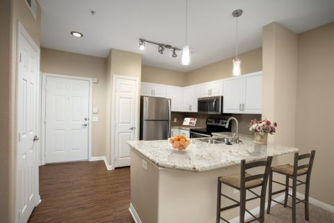 Kitchen with Stainless Steel Appliances at Camden Old Creek Apartments in San Marcos, CA