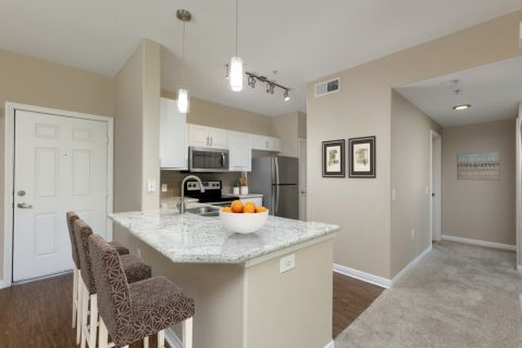 Kitchen with Counter Seating at Camden Old Creek Apartments in San Marcos, CA
