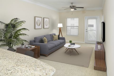 Living Room at Camden Orange Court Apartments in Orlando, FL
