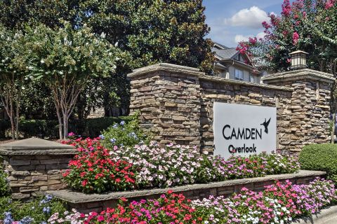 Monument Sign at Camden Overlook Apartments in Raleigh, NC