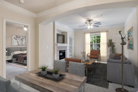 Living Room at Camden Overlook Apartments in Raleigh, NC