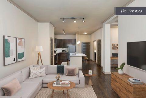 Living Room at The Terraces at Camden Paces Apartments in Atlanta, GA