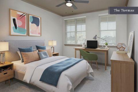 Bedroom at The Terraces at Camden Paces Apartments in Atlanta, GA