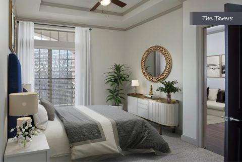 Bedroom at The Towers at Camden Paces Apartments in Atlanta, GA