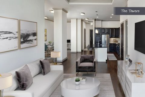Living Room at The Towers at Camden Paces Apartments in Atlanta, GA