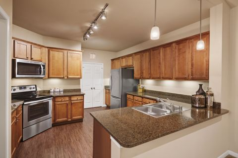 Kitchen at Camden Panther Creek apartments Frisco, TX