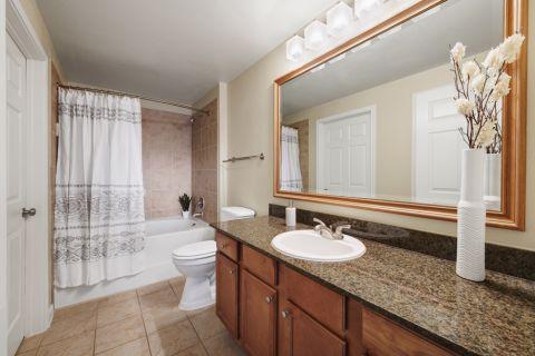 Bathroom at Camden Panther Creek apartments Frisco, TX