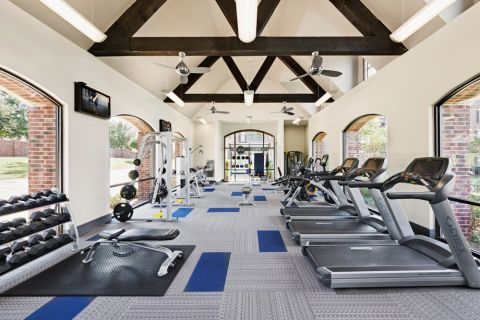 Fitness Center with Cardio, Strength Training, and Free Weight Equipment at Camden Panther Creek Apartments in Frisco, TX