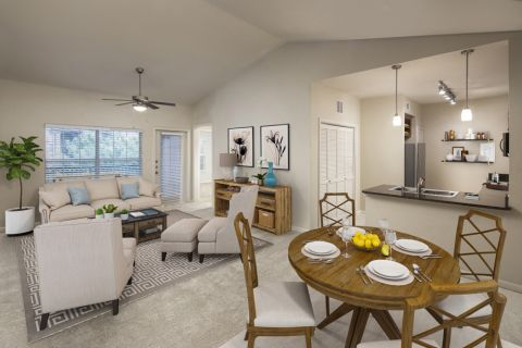 Living and Dining Space at Camden Panther Creek Apartments in Frisco, TX