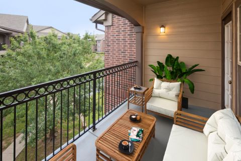 Spacious balcony at Camden Panther Creek Apartments in Frisco, TX