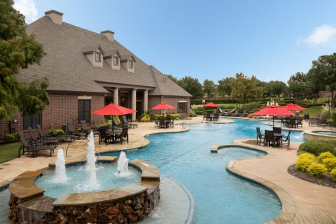 Resort-style pool at Camden Panther Creek Apartments in Frisco, TX