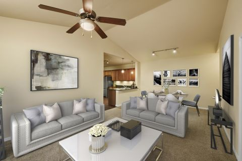 Living Room at Camden Panther Creek apartments Frisco, TX