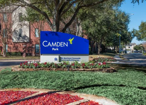 Monument Sign at Camden Park Apartments in Houston, TX