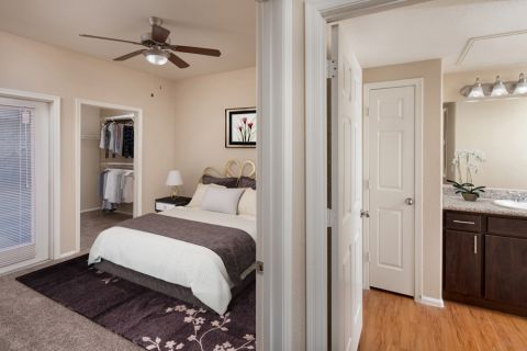 Bedroom and Bathroom at Camden Pecos Ranch Apartments in Chandler, AZ